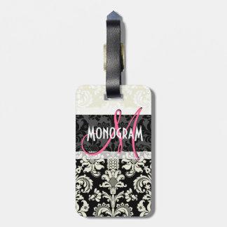 Black & White Floral Damasks Customized Bag Tag