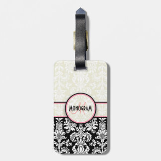 Black & White Floral Damasks Customized Tag For Bags
