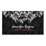 Black & White Floral Damasks Event Designer Business Card Templates