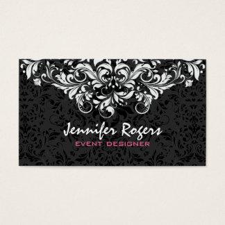 Black & White Floral Damasks Event Designer Business Card
