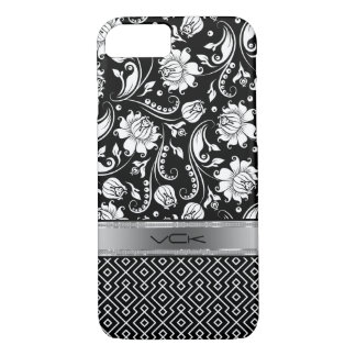 Black & White Floral Damasks & Geometric Pattern 2 iPhone 7 Case