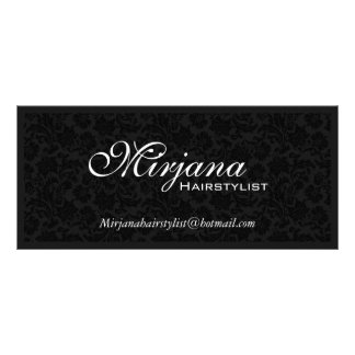 Black & White Floral Damasks Hairstylist Services Full Color Rack Card