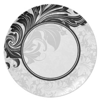 Black & White Floral Damasks & Swirls Dinner Plate