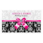 Black & White Floral Damasks With Pink Bow Business Card