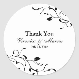 Black & White Floral Decal Favour Stickers