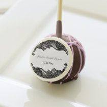 black white floral design Personalized Cake pops
