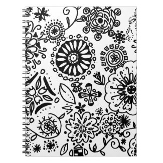 Black White Floral Doodle Notebook