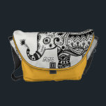 "Black &amp; White Floral Elephant Monogramed Courier Bag<br><div class=""desc"">Black ornate floral elephant on white diamond pattern texture. Customizable and optional  Initials on front and back. Available on other products and can be requested for any of the products offered at Zazzle.</div>"