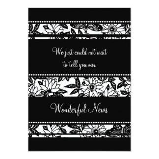 Black White Floral Elopement Announcement Cards