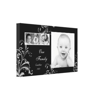 Black White Floral Family Photo Template Picture wrappedcanvas