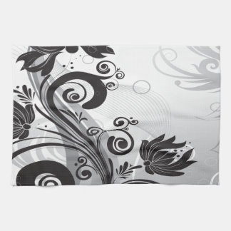 Black & White Floral Finesse Hand Towel