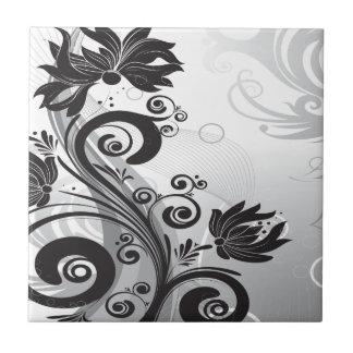 Black & White Floral Finesse Small Square Tile