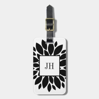 Black White Floral Flower Petals Custom Monogram Luggage Tag