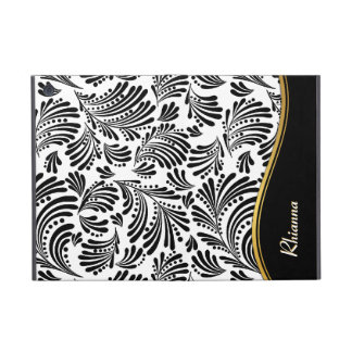 Black White Floral Folio iPad Mini Case