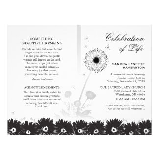 Black & White Floral Funeral Program with Photo Flyer