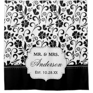 Black White Floral Just Married Wedding Date Shower Curtain at Zazzle