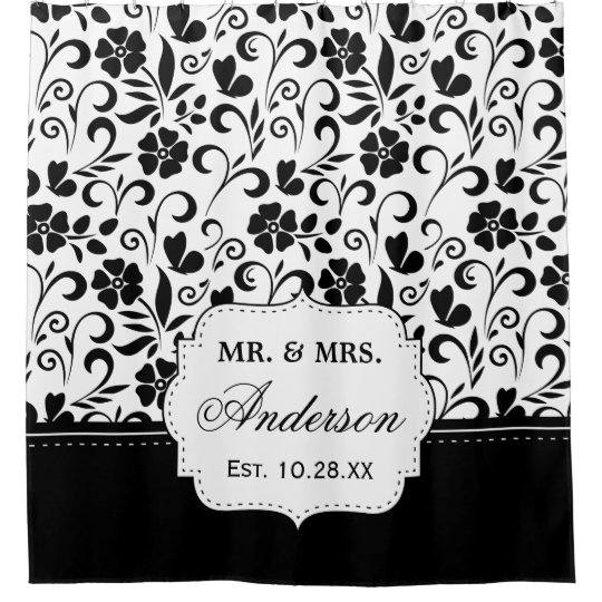 Black White Floral Just Married Wedding Date Shower Curtain Zazzle - Black and white flower shower curtain