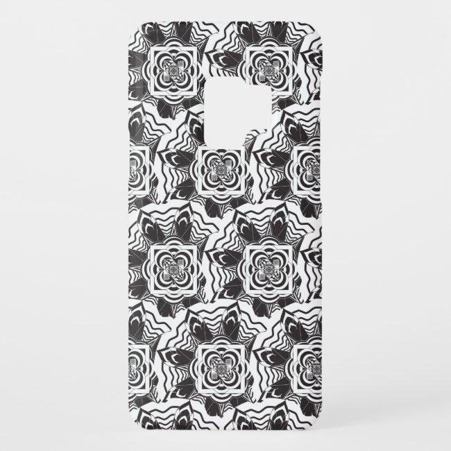 Black White Floral Mandala Pattern Galaxy S9 Case
