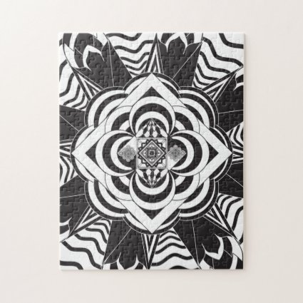 Black White Floral Mandala Pattern Jigsaw Puzzle
