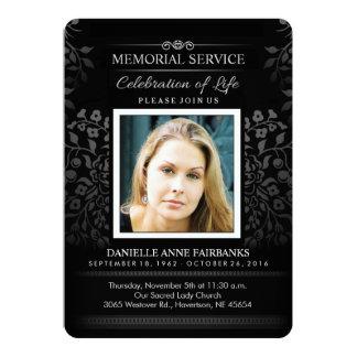Black & White Floral Memorial Service Photo Invite