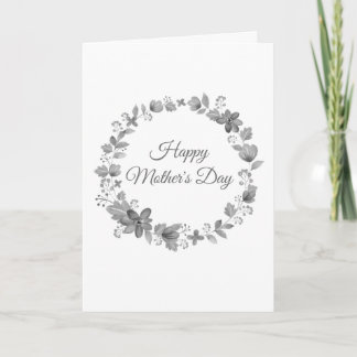 Black & White Floral Mother's Day Card