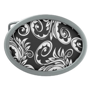 Black white floral paisley pattern belt buckle