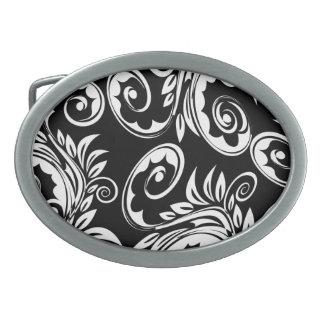 Black white floral paisley pattern belt buckle