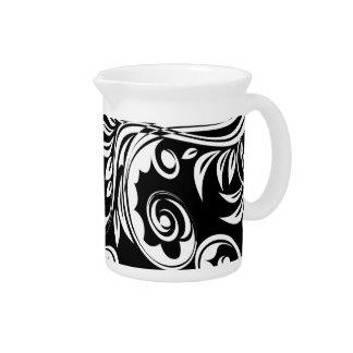 Black white floral paisley pattern beverage pitchers