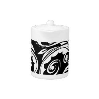 Black white floral paisley pattern teapot