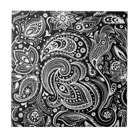 Black White Floral Paisley Pattern Tile Zazzlecom