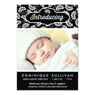 BLACK & WHITE FLORAL PATTERN | BIRTH ANNOUNCEMENT