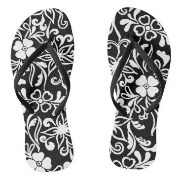Beach Themed Black & white floral pattern flip flops
