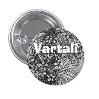 Black & White Floral Pattern Vartali Round Button