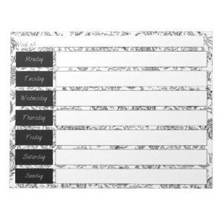 Black & White Floral Pattern Weekly Planner Pad Scratch Pads
