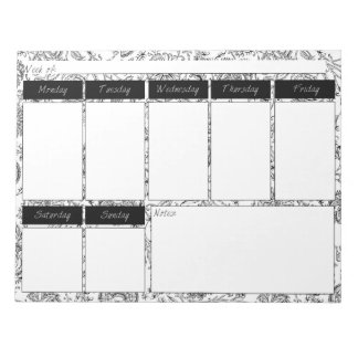 Black & White Floral Pattern Weekly Planner Pad Notepads