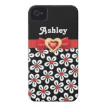 Black white floral pattern with red bow and jewel iPhone 4 Case-Mate cases
