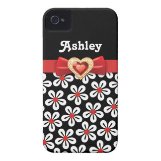 Black white floral pattern with red bow and jewel iPhone 4 Case-Mate case