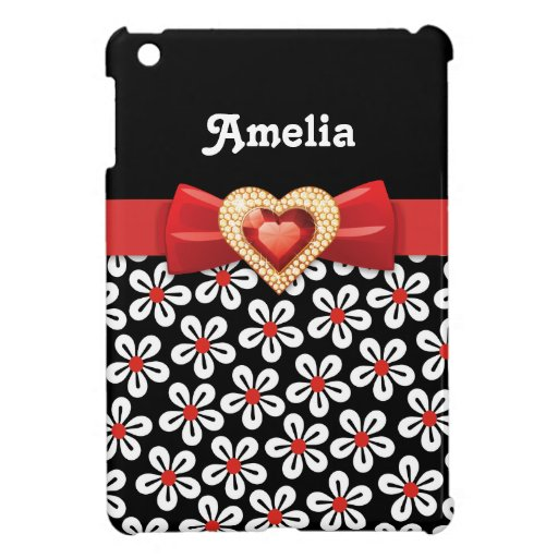 Black white floral pattern with red bow and jewel iPad mini case