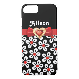 Black white floral pattern with red bow and jewel iPhone 8/7 case