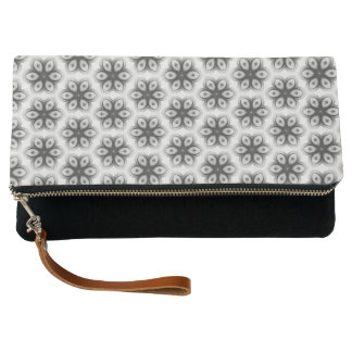 Black & White Floral Patterned Fold Over Clutch