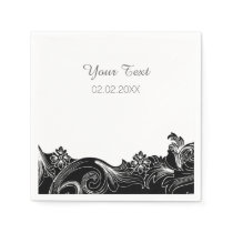 black white floral personalized wedding napkins