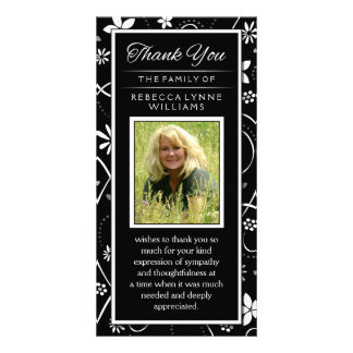 Black & White Floral Photo Memorial Thank You Card