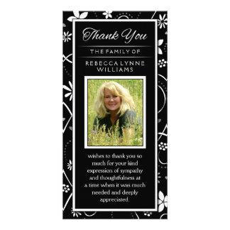Black & White Floral Photo Memorial Thank You Card Photo Card