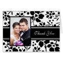 Black & White Floral Photo Wedding Thank You Card