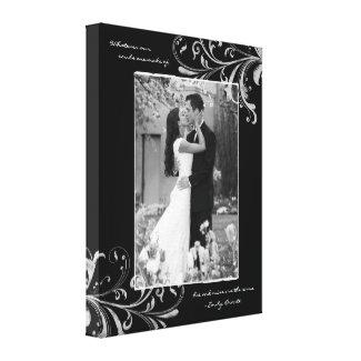 Black White Floral Portrait Photo Template Picture wrappedcanvas