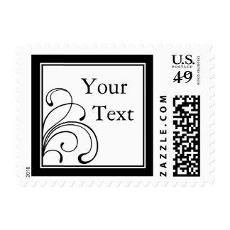 Black & White Floral Postage Stamp w/ Custom Text