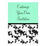 Black & White Floral, Seafoam Personalized Invitations