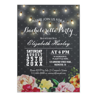 Black White Floral String Light Bachelorette Party Card
