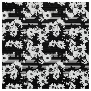 Black And White Striped Floral Fabric Zazzle