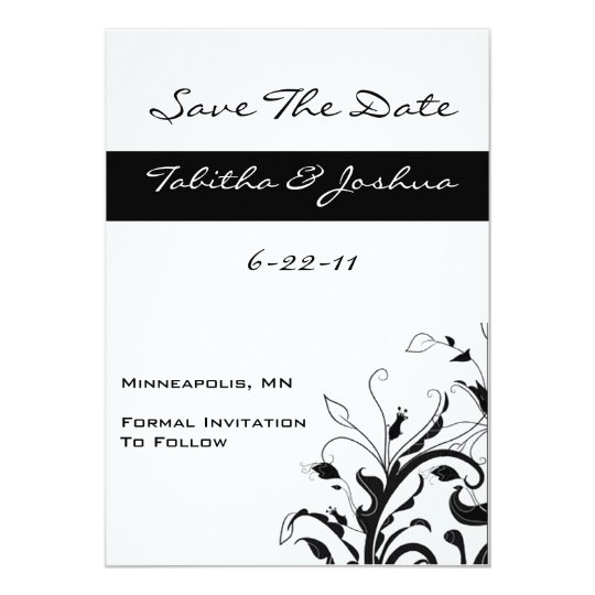 Black & White Floral Swirl Save The Date -Vertical Card